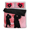 Valentine's Day Special Couple On Red Print Bedding Set-Free Shipping-Paww-Printz-Merchandise