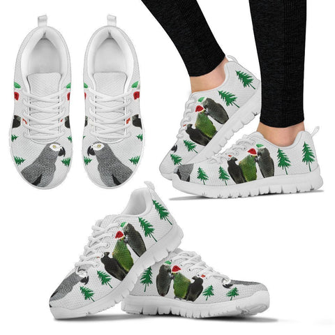 African Grey Parrot Christmas Print Running Shoes For Women-Free Shipping-Paww-Printz-Merchandise