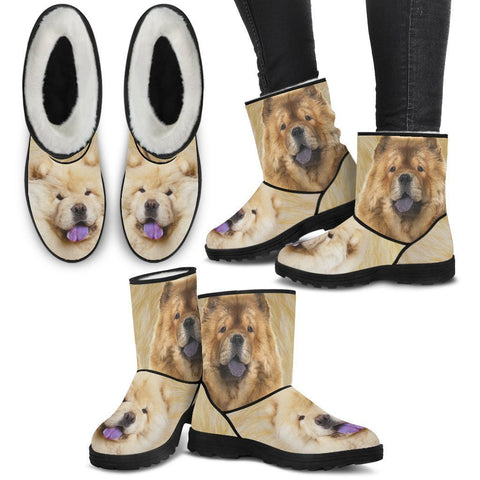 Chow Chow Print Faux Fur Boots For Women-Free Shipping-Paww-Printz-Merchandise