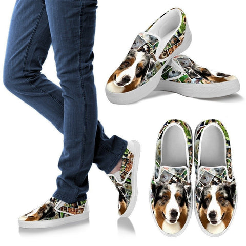 Amazing Australian Shepherd Dog Print Slip Ons For Women-Express Shipping-Paww-Printz-Merchandise