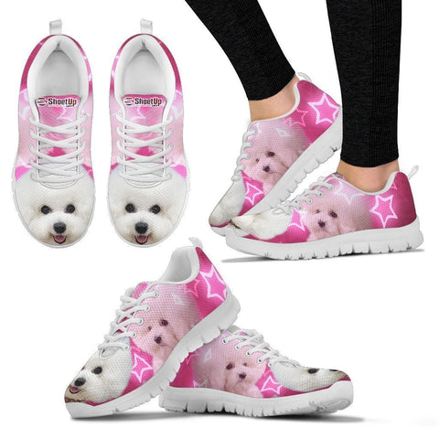 Bichone Frise On Pink Print Running Shoes For Women- Free Shipping-Paww-Printz-Merchandise