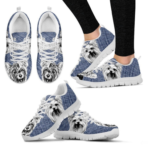 Yorkshire Sketch Print (Black/White) Running Shoes For Women-Free Shipping-Paww-Printz-Merchandise