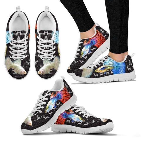 Beautiful Guppy Fish Print Christmas Running Shoes For Women- Free Shipping-Paww-Printz-Merchandise