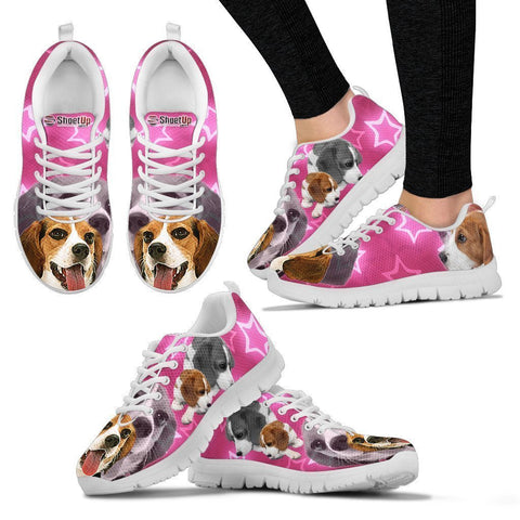 Beagle Dog On Pink Print Running Shoes For Women- Free Shipping-Paww-Printz-Merchandise