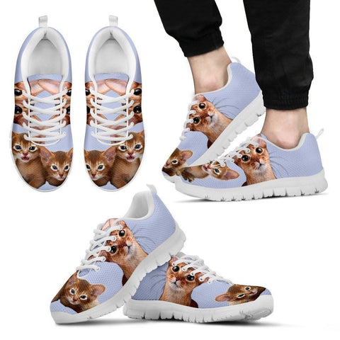 Abyssinian Cat Print (White/Black) Running Shoes For Men-Free Shipping-Paww-Printz-Merchandise