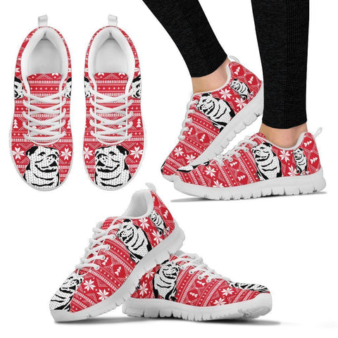 Cute Bulldog2 Print Christmas Running Shoes For Women- Free Shipping-Paww-Printz-Merchandise