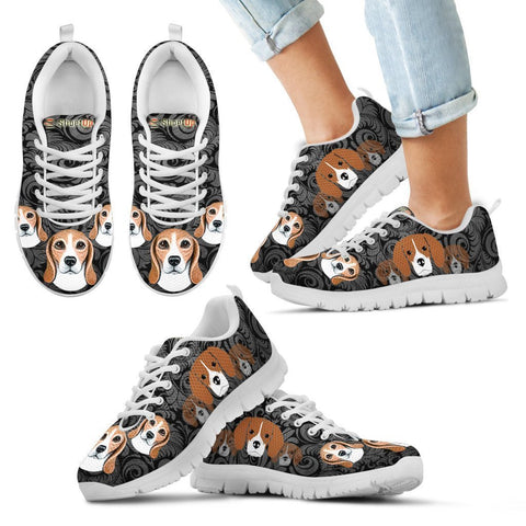 Beagle On Black-Kid's Running Shoes-Free Shipping-Paww-Printz-Merchandise