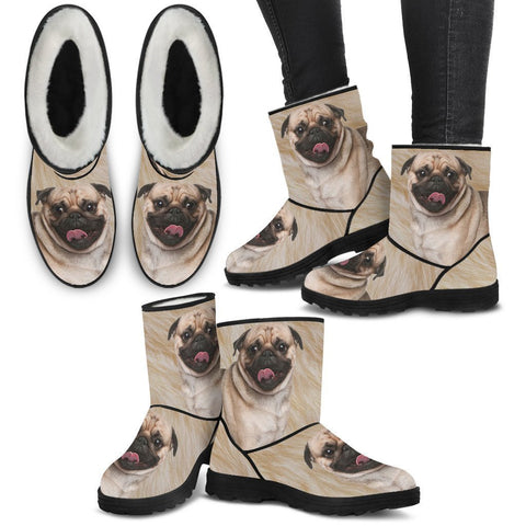 Pug Print Faux Fur Boots For Women-Free Shipping-Paww-Printz-Merchandise
