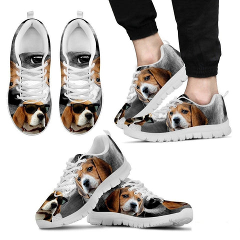 Beagle Dog With Glasses Print Running Shoe (Men)- Free Shipping-Paww-Printz-Merchandise