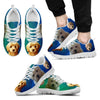 Beautiful Goldendoodle Print Sneakers For Men (White/Black)- Free Shipping-Paww-Printz-Merchandise