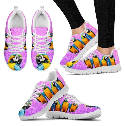 Blue And Yellow Macaw Parrot Running Shoes For Women-Free Shipping-Paww-Printz-Merchandise