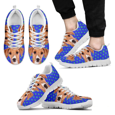 Azawakh Dog (White/Black) Running Shoes For Men-Free Shipping-Paww-Printz-Merchandise