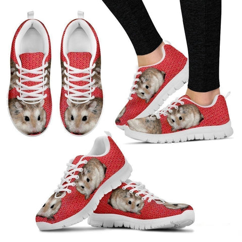 Roborovski Hamster (Black/White) Running Shoes For Women-Free Shipping-Paww-Printz-Merchandise