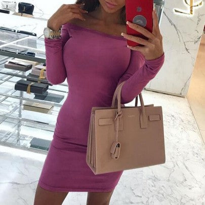 New Women Purple Bandeau Off Shoulder Long Sleeve Fashion Bodycon Vegas Club Mini Dress