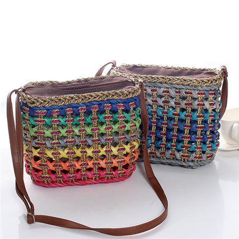 Casual Straw Costrast Color Crossbody Bag Shoulder Bags Phone Bags Travel Bag