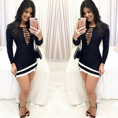 2018 Black Patchwork Cut Out Irregular V-neck Long Sleeve Fashion Mini Dress