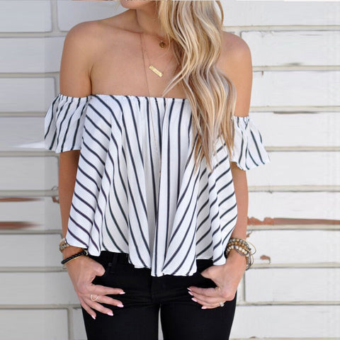 Hot Sale Women Off Shoulder Stripe Casual Blouse Shirt Tops Fashion Gifts