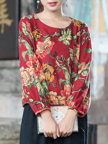 Casual Floral Print Lantern Sleeve O-neck Women T-shirts