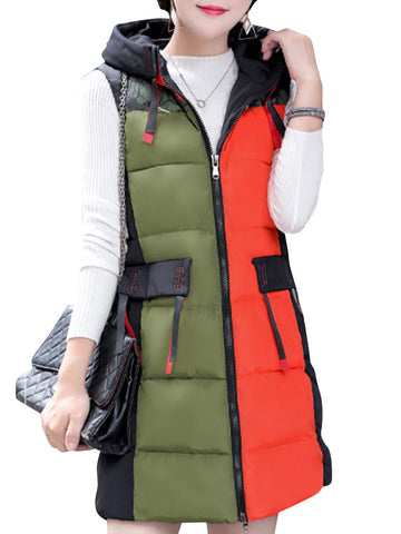 Casual Patchwork Detachable Hooded Thick Sleeveless Down Jacket