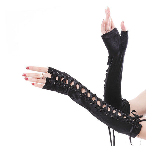 Women Arm Length Fingerless Long Gloves Lace-Up Punk Satin Wedding Oversleeve Sexy Dance Gloves