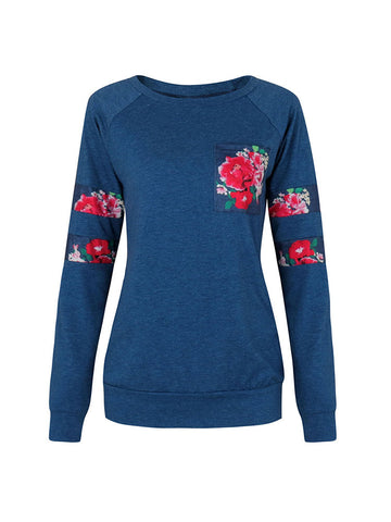 Casual Floral Print Patchwork Long Sleeve O-neck Women T-shirts