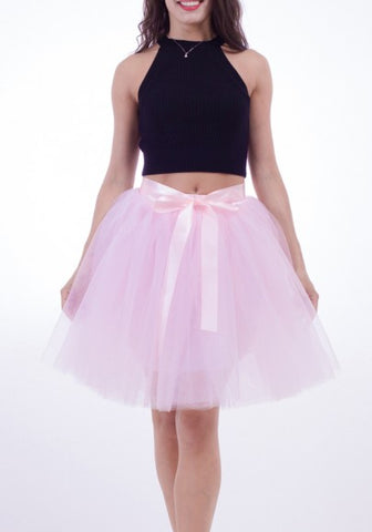 2018 Pink Draped Grenadine Bow Puffy Tulle High Waisted Adorable Tutu Skirt