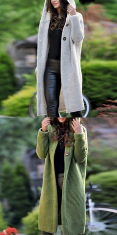 New Loverchic Hooded Long Sleeve Button Plain Casual Cardigans