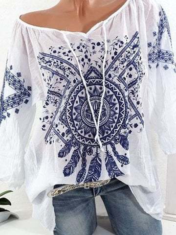 New Printed Casual Tribal Long Sleeve Plus Size T-Shirt