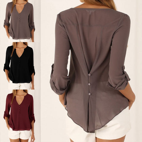 New Plus Size Long Sleeve Casual Shift V Neck Chiffon Blouse