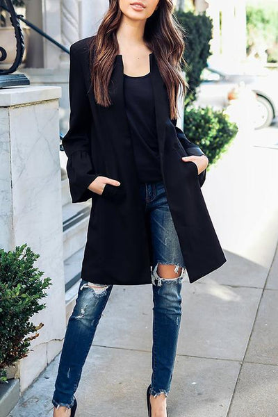 Loverchic Solid Color Long Sleeve Round Neck Long Coat
