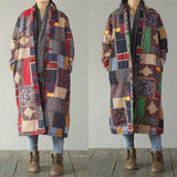 Women Vintage Patchwork Long Sleeve Plate Buckles Thicken Coats
