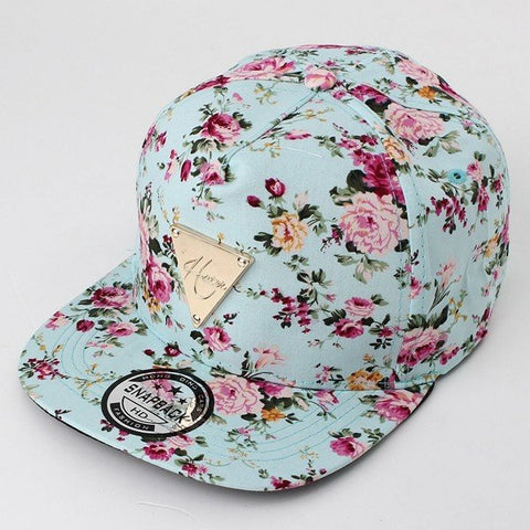 Men Women Floral Flower Adjustable Snapback Baseball Hats Flat  Hip Hop Cap