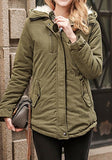 Army Green Pockets Buttons Zipper Hooded Long Sleeve Parka Coat