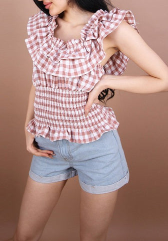 Khaki Plaid Cascading Ruffle Boat Neck Fashion T-Shirt