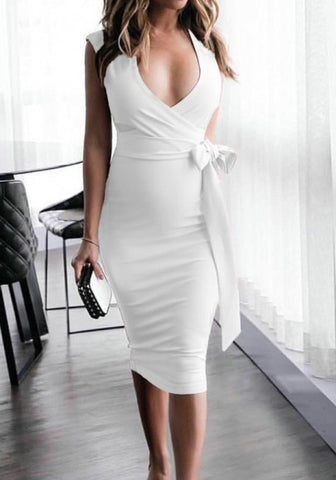 White Cut Out Sashes V-neck Fashion Midi Dress