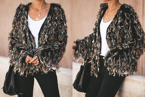 New Loverchic Brilliance Metallic Fringe Statement Cardigan