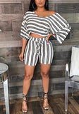 White-Black Striped One-shoulder Drawstring Two Piece Oversize Casual Short Jumpsuit