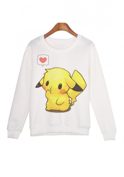 White Cartoon Pattern Round Neck Long Sleeve Fasion Sweatshirt