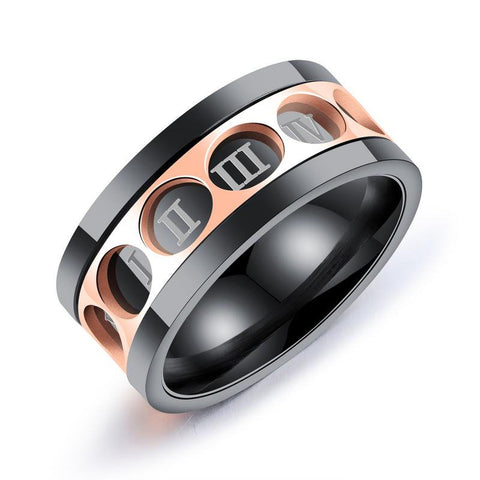 Men's Twelve Rome Digital Rotatable Ring Stainless Steel Ring