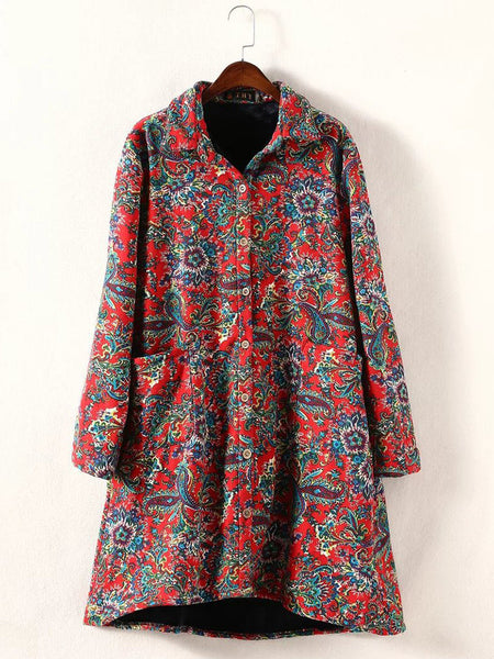 Tribal Floral Print Brushed Buttons Long Sleeve Turn-Down Collar Coats