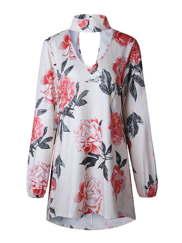 Casual Floral Print Loose V-neck Choker Long Sleeve Women T-shirts