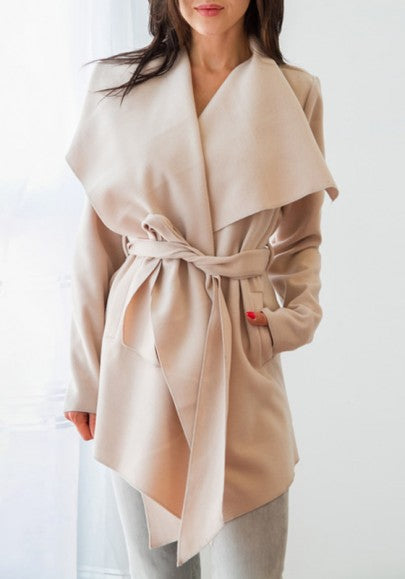 Khaki Irregular Sashes Turndown Collar Long Sleeve Fashion Trench Coat