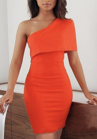 Orange Asymmetric Shoulder Irregular Bodycon Banquet Elegant Party Mini Dress