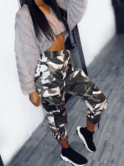 Light Camouflage Print Pockets High Waisted Button Hippie Haren Casual Nine's Cargo Pants