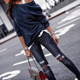 New Loverchic One Shoulder Casual Soft Long Sleeve T-Shirt