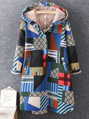 Geometric Printed Long Sleeve Hooded Winter Thicken Coats For Women