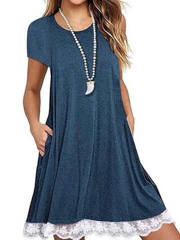 New Short Sleeve Lace Summer T-Shirt Midi Dress with Pockets