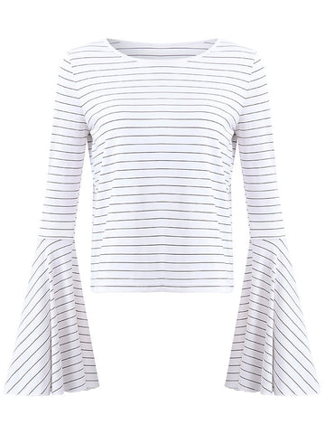 Women Striped Trumpet Sleeve O-Neck Casual T-shirts