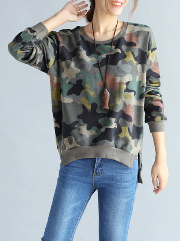 Casual Camouflage O Neck Long Sleeves Sweatshirts For Women