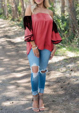 2018 Red Patchwork Lace Pleated Lantern Sleeve Off Shoulder Backless Casual Blouse
